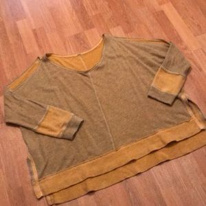 Free People Yellow Cold shoulder sweater